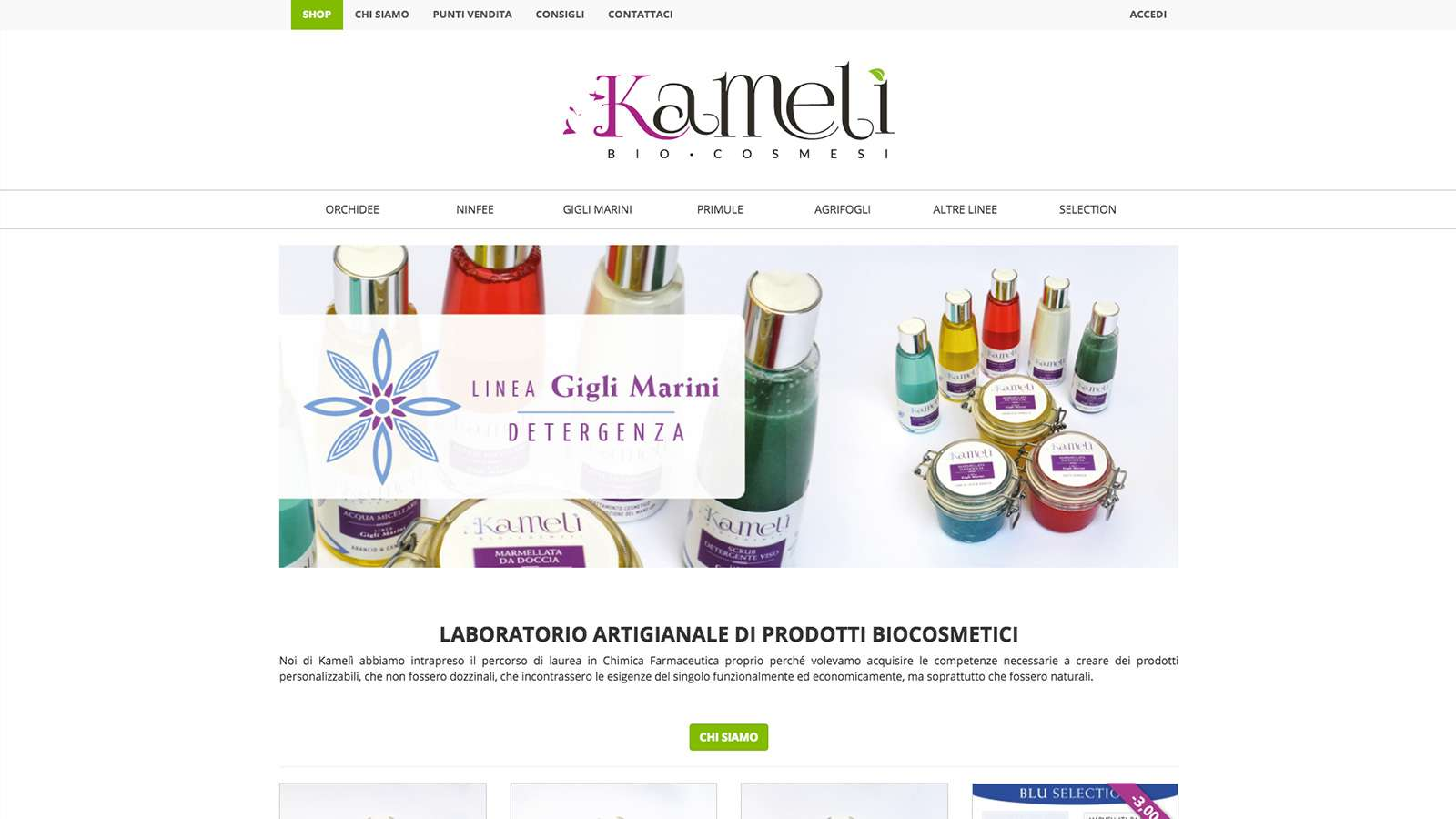 Kamelì Biocosmesi Desktop Website
